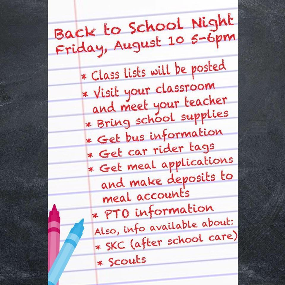 August 10th, Back to School Night