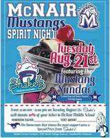 McNair Mustangs Spirit Night. August 21st. Shake's Frozen Custard
