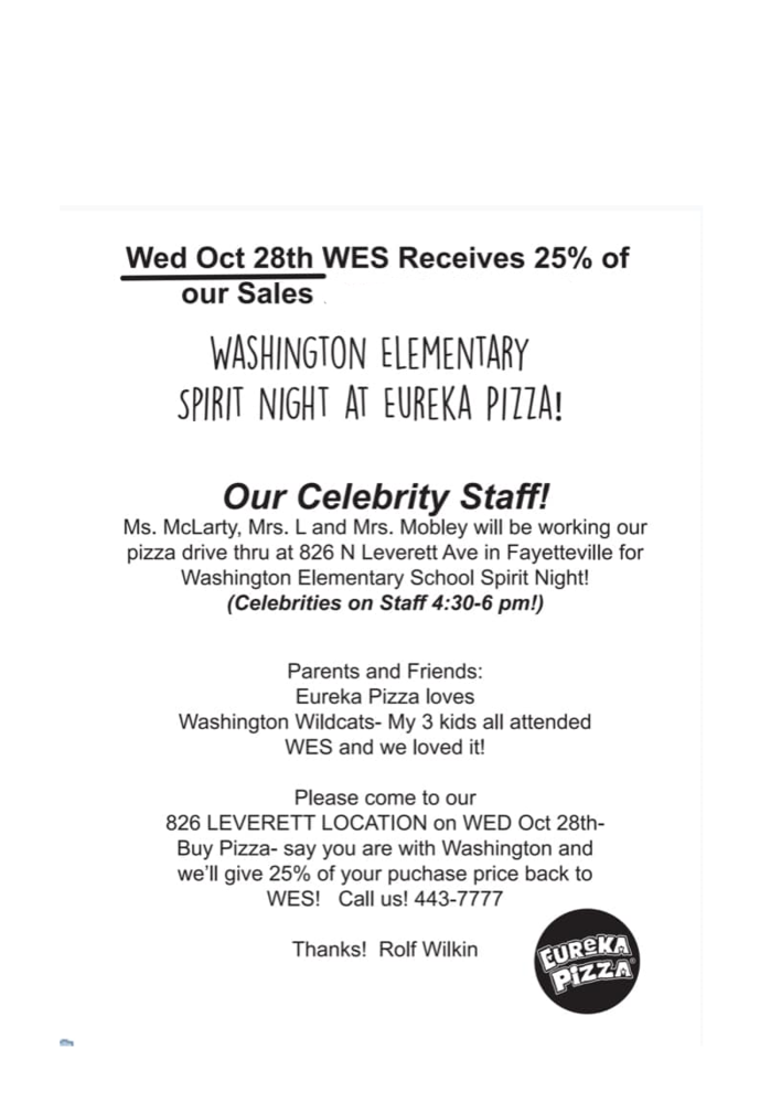 SPIRIT NIGHT PIZZA - WEDNESDAY, OCTOBER 28TH