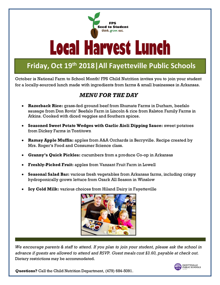 Local Harvest Lunch Friday, October 19th!