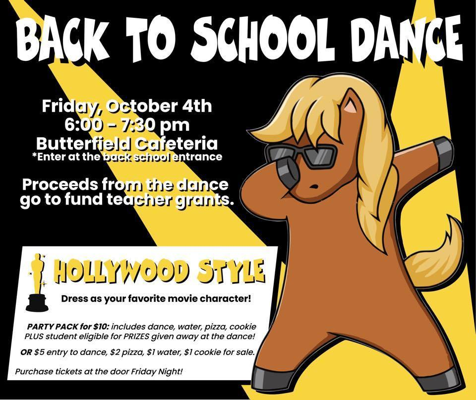 Back to School Dance this Friday, October 4th 6:00-7:30