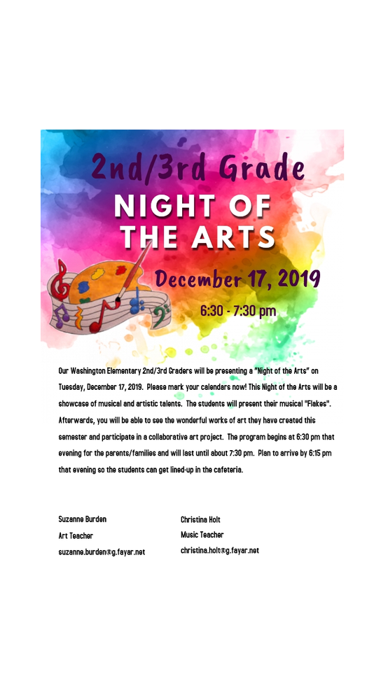 2nd/3rd Grades NIGHT OF THE ARTS - Tuesday, December 17