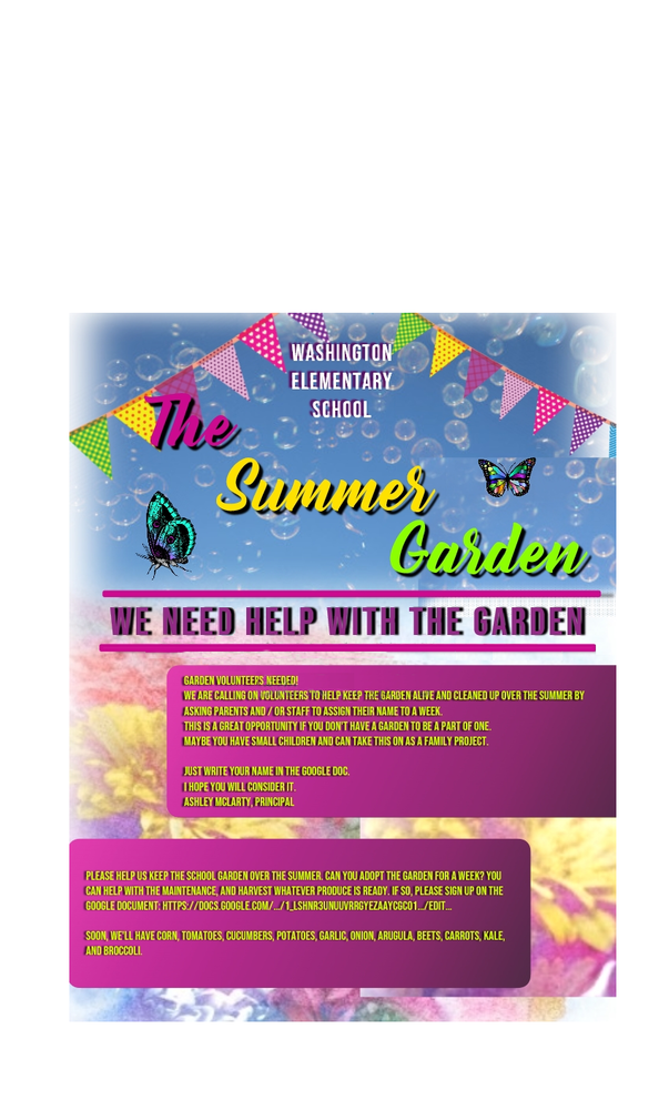 VOLUNTEERS NEEDED for the Garden this Summer