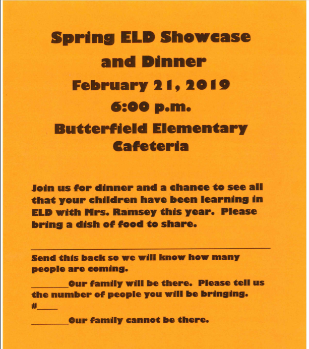 Butterfield Spring ELD Showcase and Dinner, February 21st at 6:00 pm