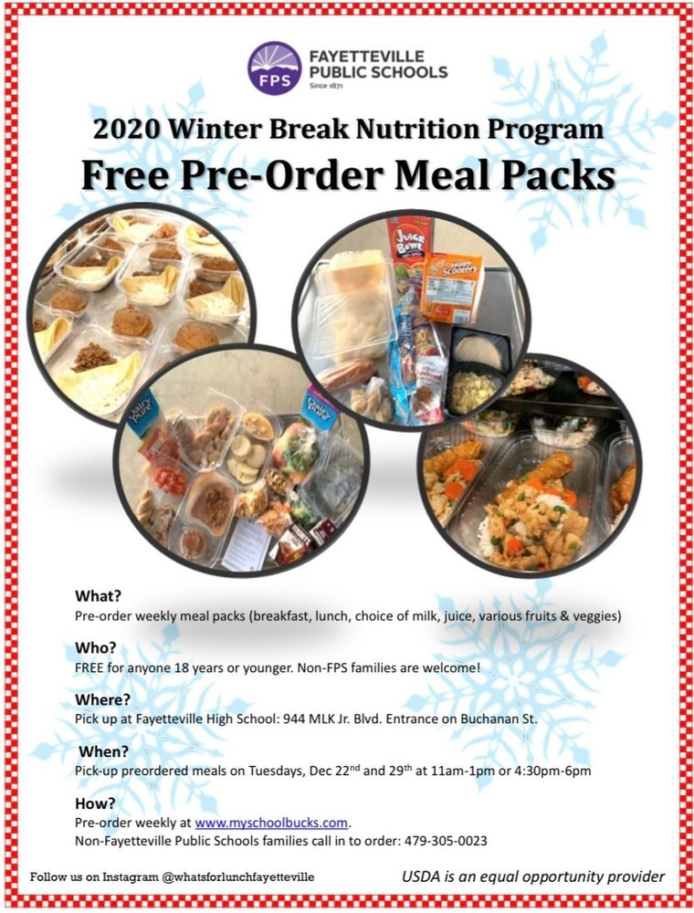 ​FREE PRE-ORDER MEAL PACKS OFFERED DURING WINTER BREAK