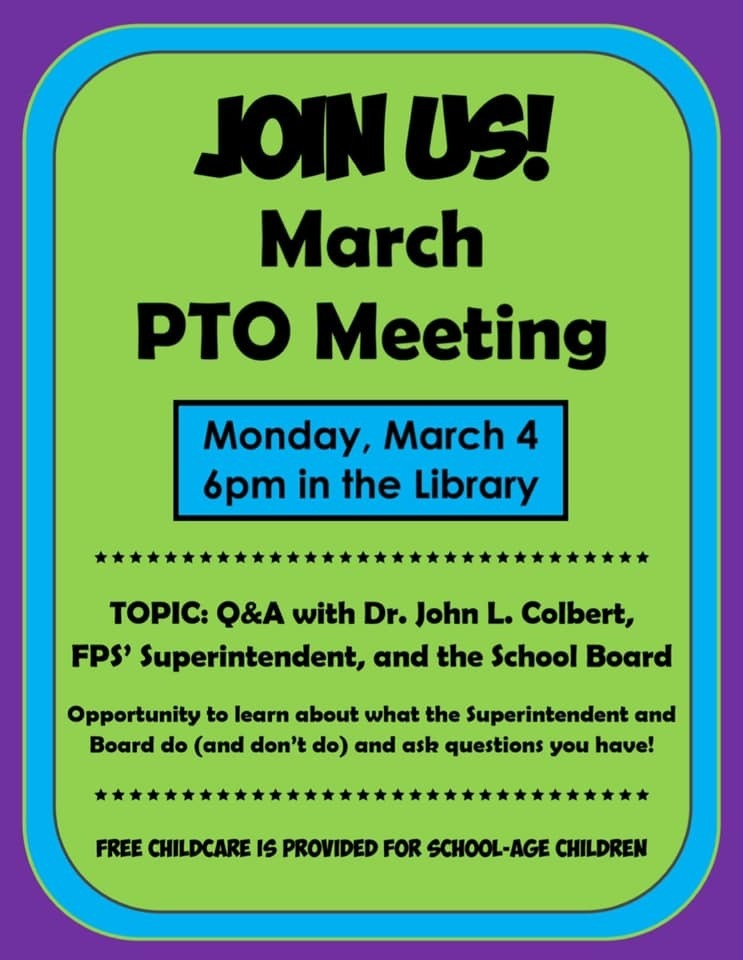 PTO March Meeting Changed to March 4