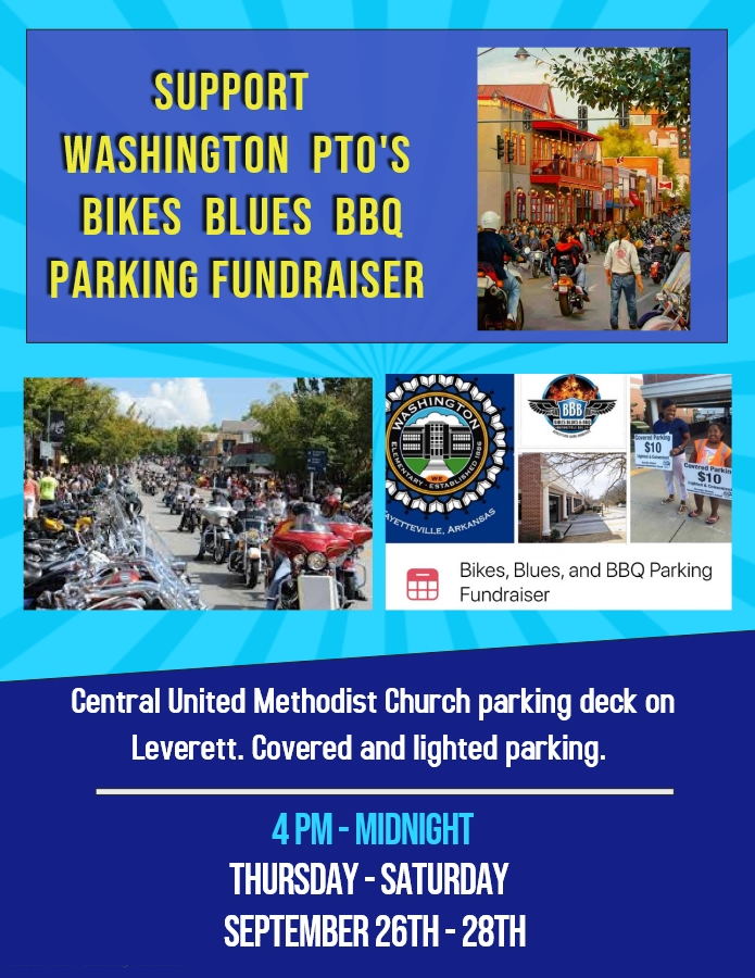 Support the Bikes Blues and BBQ PTO Fundraiser Sept 26-28th.