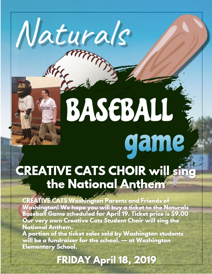 CREATIVE CATS CHOIR will sing the National Anthem at the Naturals Game on April 19 Choir