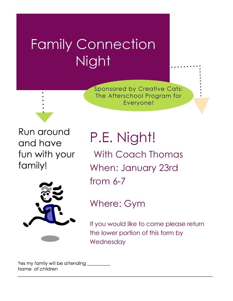 FAMILY NIGHT CONNECTION - PE Night January 23rd  6-7 pm