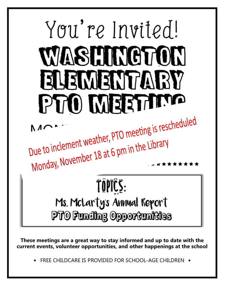 PTO November Meeting - Monday, November 18 at 6 - 7 pm in the library