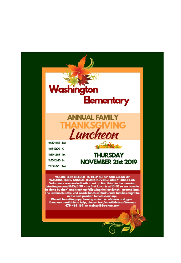 VOLUNTEERS NEEDED for Our Annual Thanksgiving Luncheon Nov. 21st