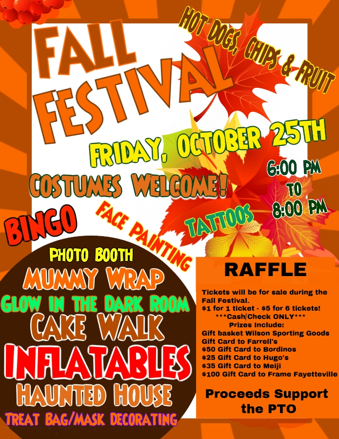 Annual Fall Festival is Friday, October 25th from 6:00 - 8:00 pm