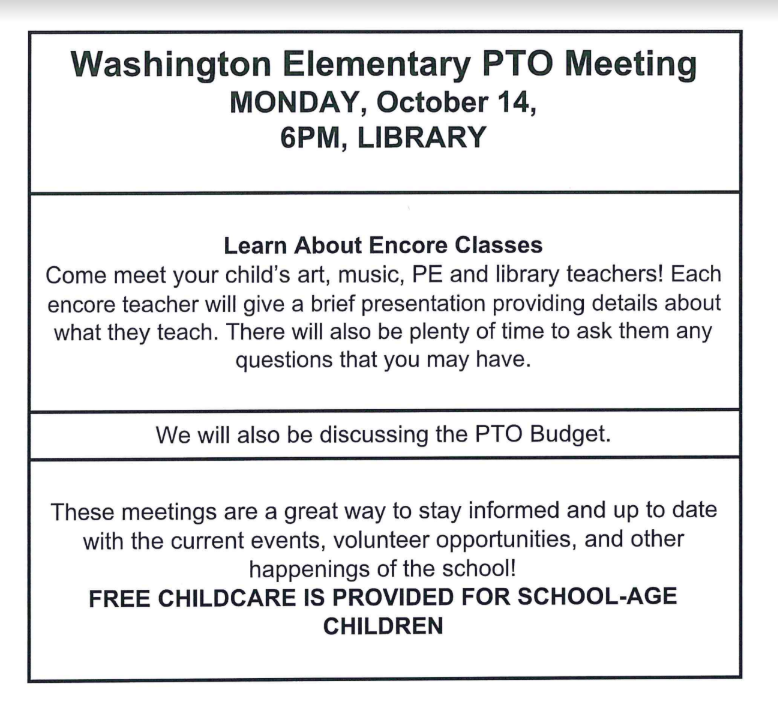 PTO Meeting Monday, October 14 at 6 pm in the Library