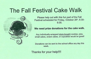 PRIZE DONATIONS NEEDED for the Cake Walk