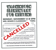 Washington PTO Meeting - Monday, Nov 12