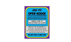 Drop-in Open House Monday, April 22 from 5:30-6:30 for incoming Kindergartners and their families