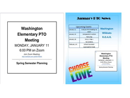 PTO Newsletter - PTO Meeting Monday, Jan. 11 at 6 pm