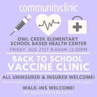 Vaccine Clinic - Friday, August 21st - 8 to Noon