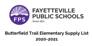 Butterfield Trail Elementary Supply List 2020-2021
