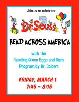 Friday is Read Across America - Green Eggs and Ham Program by Dr. Colbert