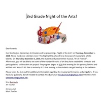 3rd Grade Night of the Arts Thursday, Nov. 1