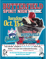 Butterfield Spirit Night is Tuesday, October 15th from 11:00 am - 11:00 pm