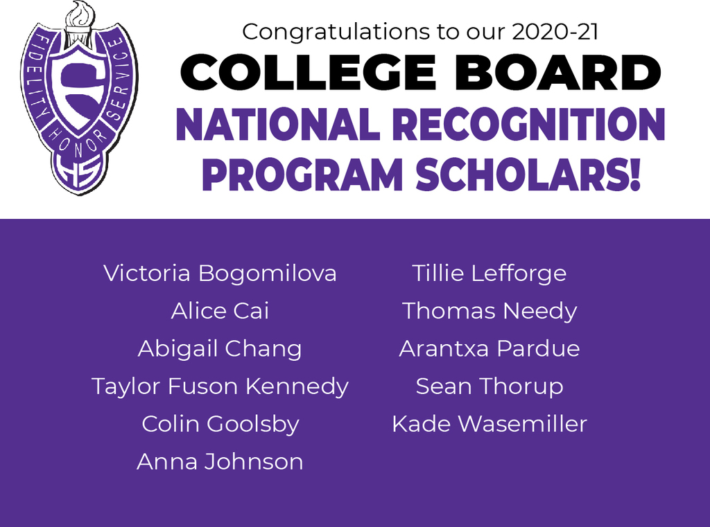 College Board National Recognition Program Scholars