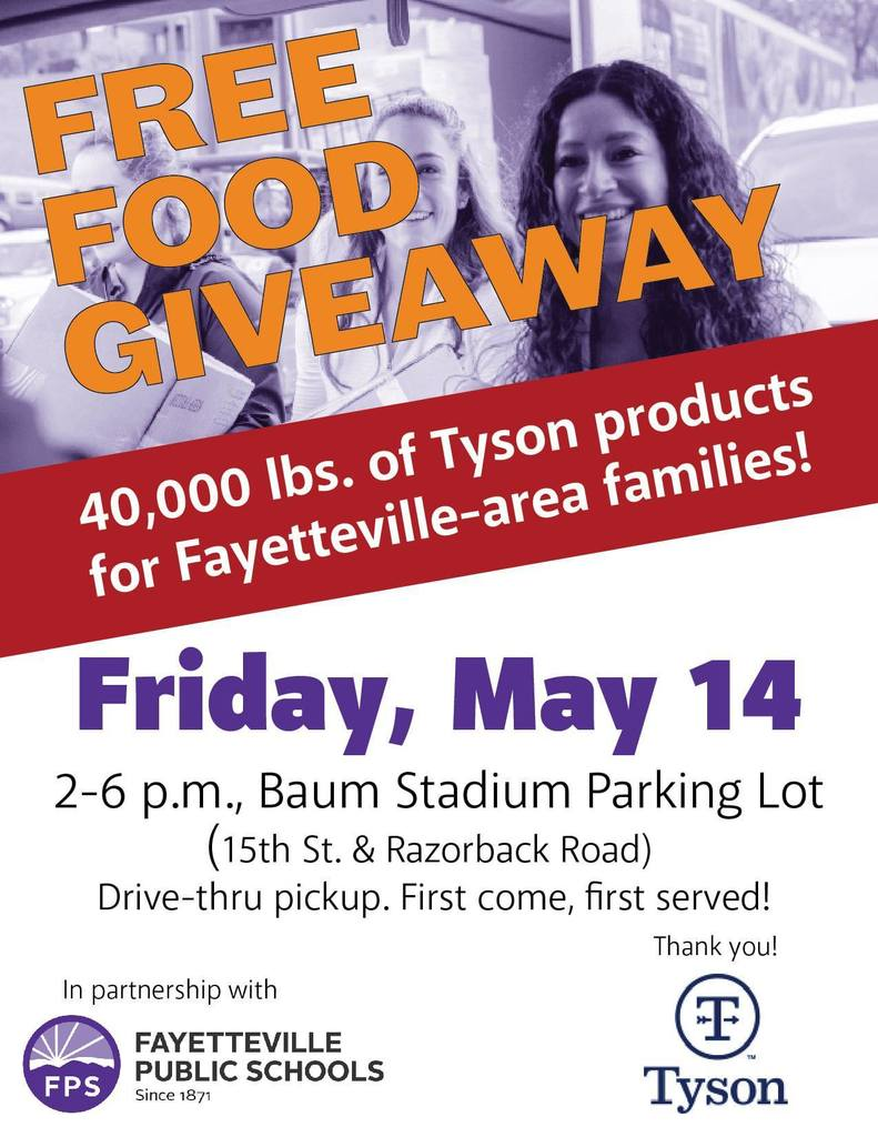 Each family will receive 40 lbs. of frozen Tyson protein products. First come, first served until it's gone!