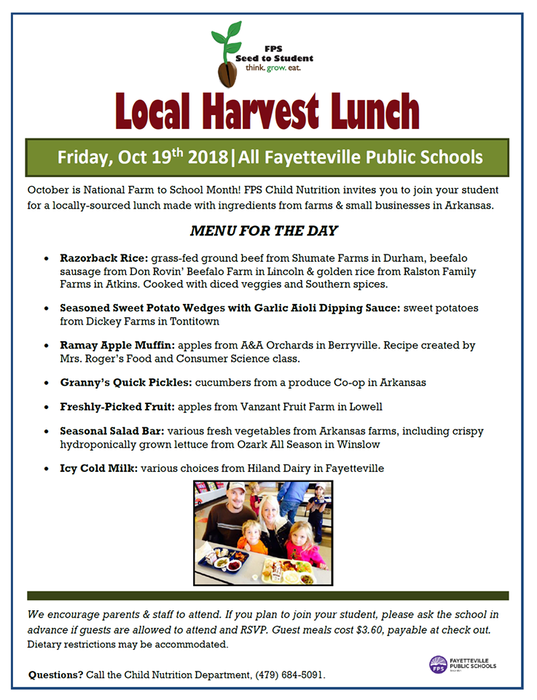 October is National Farm to School Month! FPS Child Nutrition invites you to join your student for a locally-sourced lunch made with ingredients from farms & small businesses in Arkansas.