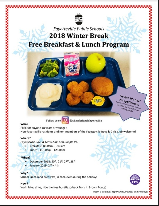 Winter Break free meals poster