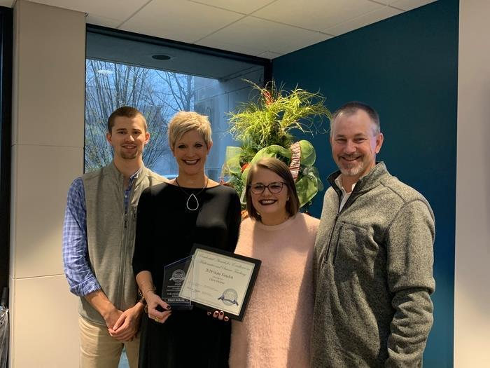 The Husky Nation Celebrates Today! Our very own Cheri DeSoto, 5th Grade Science teacher, was recognized as a 2018 state finalist for the Presidential Award for Excellence in Mathematics and Science Teaching, in front of the State Board of Education today in Little Rock! Mrs. DeSoto's husband Joe and children Trusten & Nicole along with Maddie, Trusten's fiancé, were all there to support her! Mrs. DeSoto is in her 26th year of teaching! She began in West Fork Elementary and then moved into Fayetteville Public Schools at Butterfield Trail Elementary. In 2015 she moved to Holt as the district realigned and continued to teach 5th Grade. If you step into Mrs. DeSoto's classroom you will see engaged learners, discussion and exploration of science, scaffolded instruction, and for sure hear the letters ONSC. She is team player and public servant that is a joy to work with each day!  So proud of you Mrs. DeSoto!