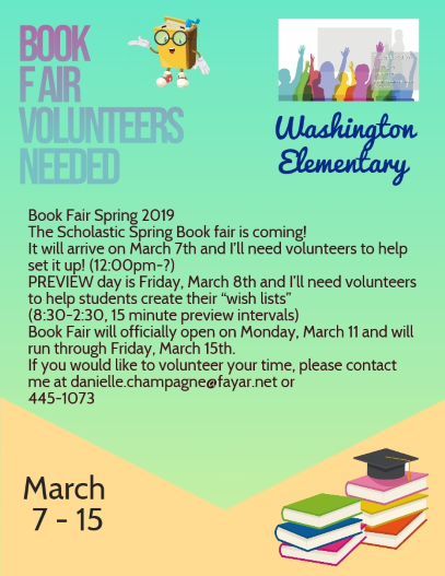 Volunteers needed for book fair poster