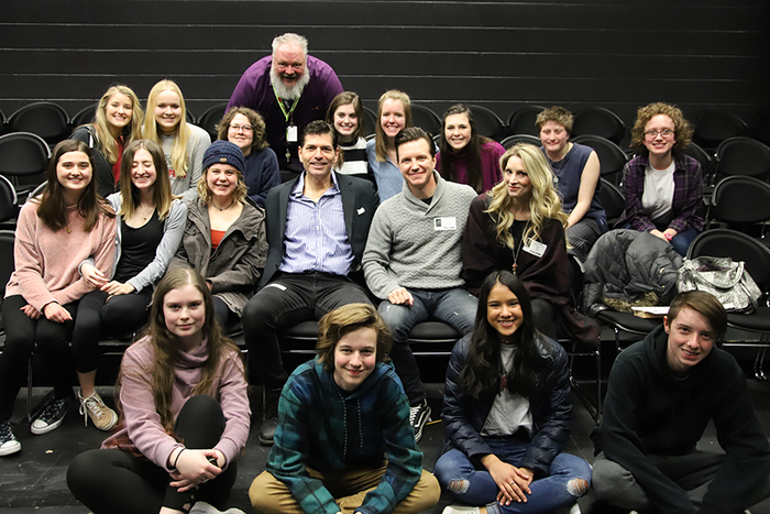 "Actors from ""A Bronx Tale,"" which is playing at the Walton Arts Center, came to Mike Lynn Thomas' Drama class today to visit with students, watch some student performances, and offer advice. #onefps"