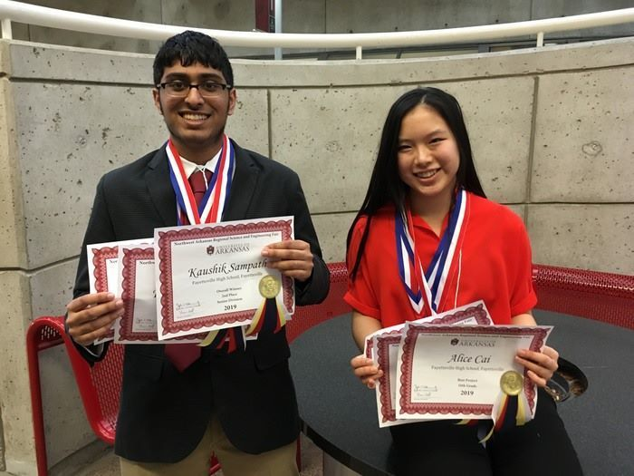 Congratulations to @FayettevilleHS students Alice Cai (10) and Kaushik Sampath (11) for winning 1st and 2nd place at the Regional Science Fair. Both have qualified for the international science fair in Phoenix, Arizona in May.