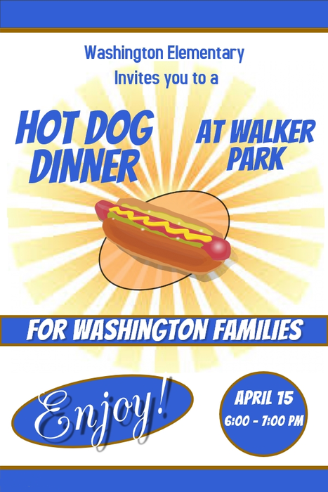 Hot Dog dinner flyer