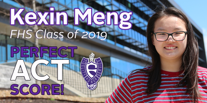 Congratulations to @FayettevilleHS senior, Kexin Meng, on her perfect ACT score! #PurpleReign