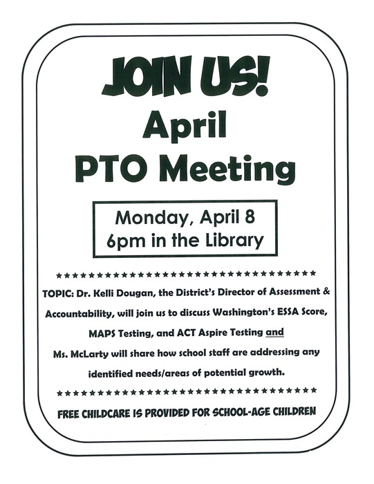 PTO April meeting flyer