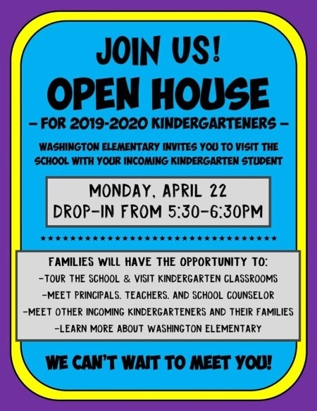 Open House flyer for 2019-2020 kindergartners