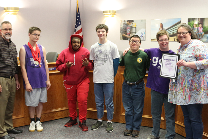 The FHS Special Olympics Basketball team received a Recognition of Outstanding Achievement for winning the 2019 state championship!