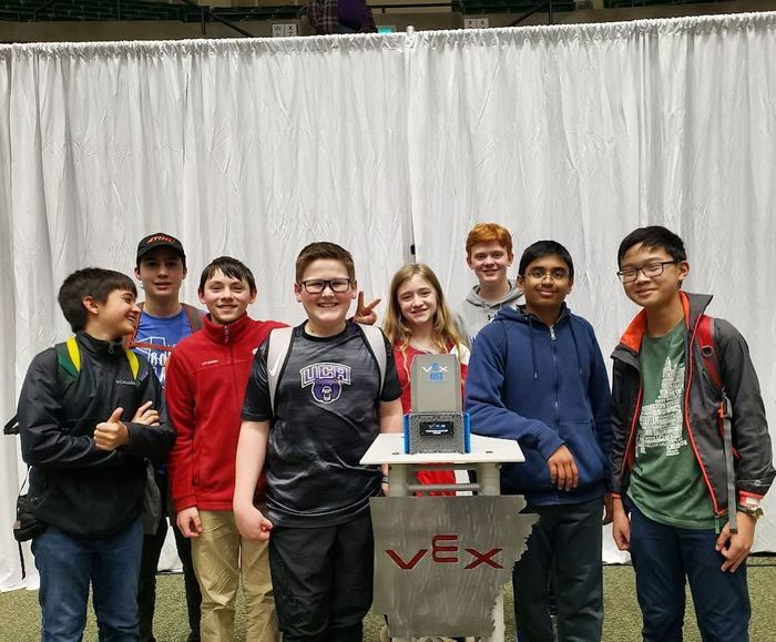 The Woodland Jr. High Robotics Team received a Recognition of Outstanding Achievement for placing 4th in the nation at the Create U.S. Open Robotics Championship.