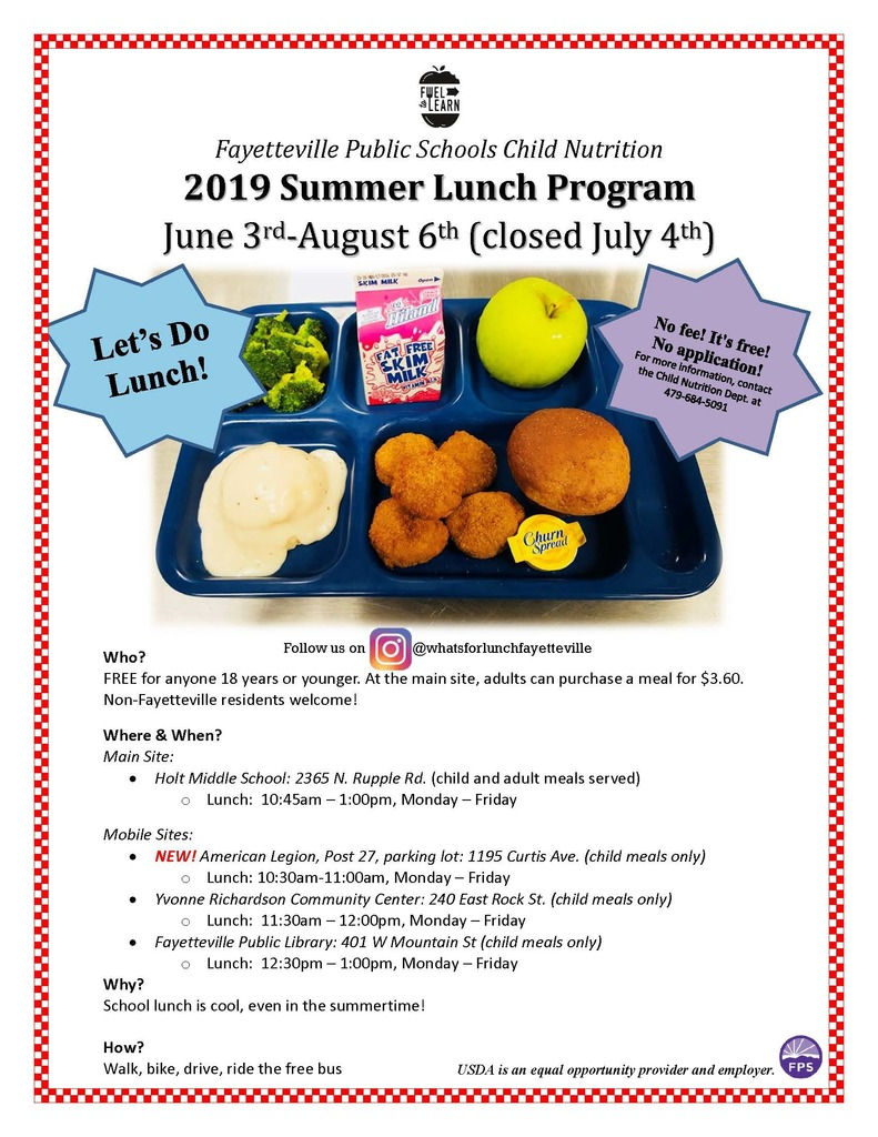 free summer lunch program 2019