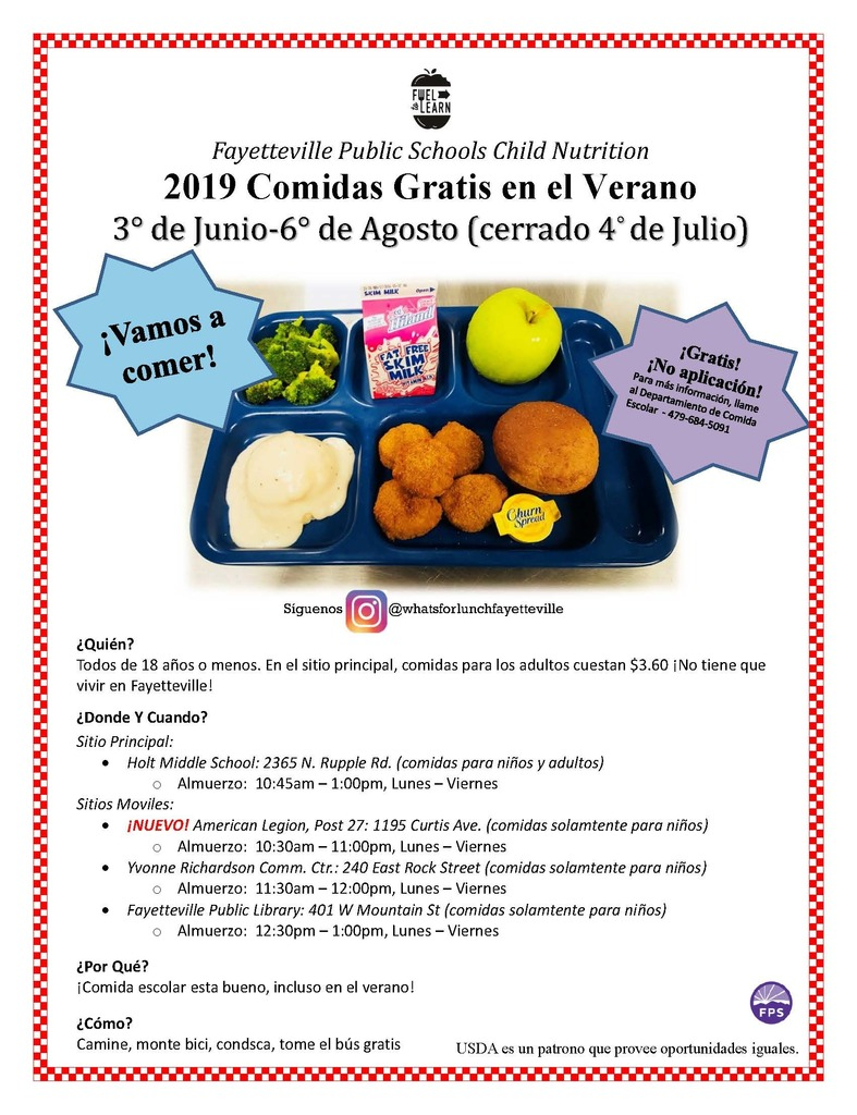 free summer lunch program spanish flyer