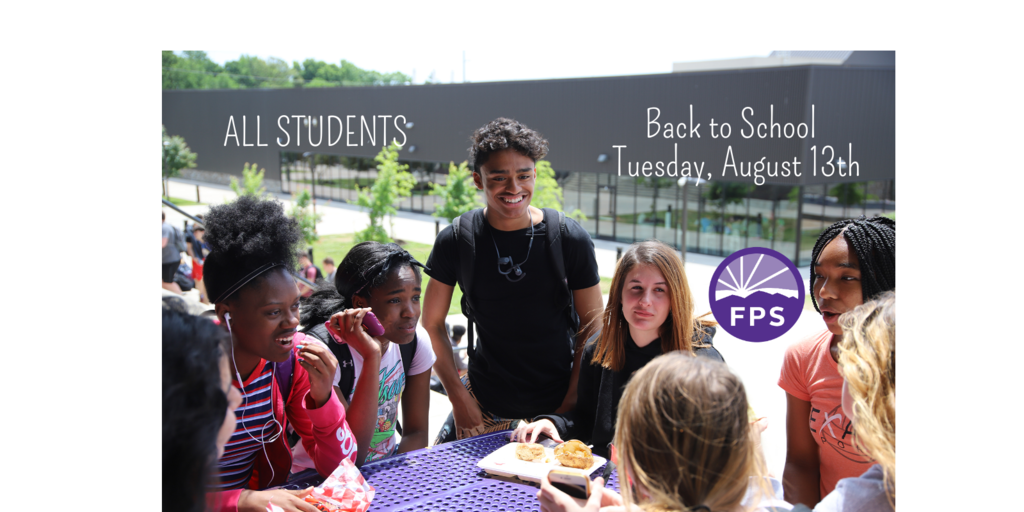 Picture of FPS students eating lunch outside with Back to School on Tuesday, August 13th.