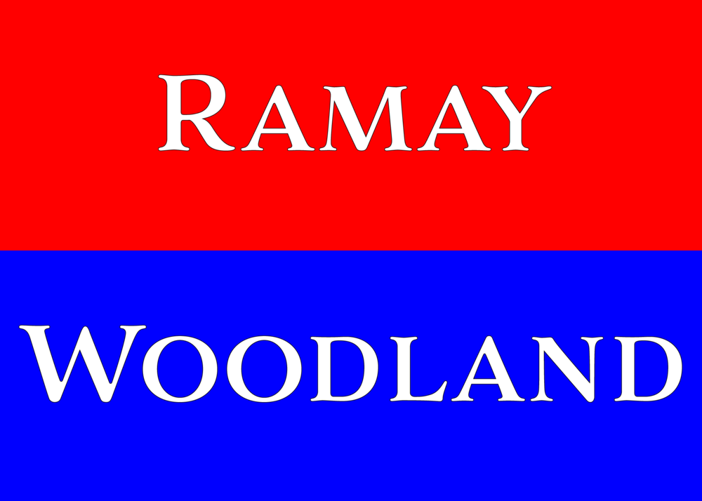 Ramay/Woodland graphic with school names in school colors of Red and Blue