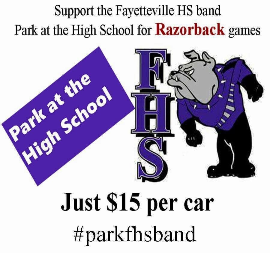 If you are going to the game tomorrow, park at Fayetteville High School and help the FHS Band!