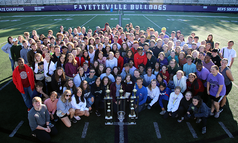 Picture of the FHS Band after winning Bentonville Invitational marching contest