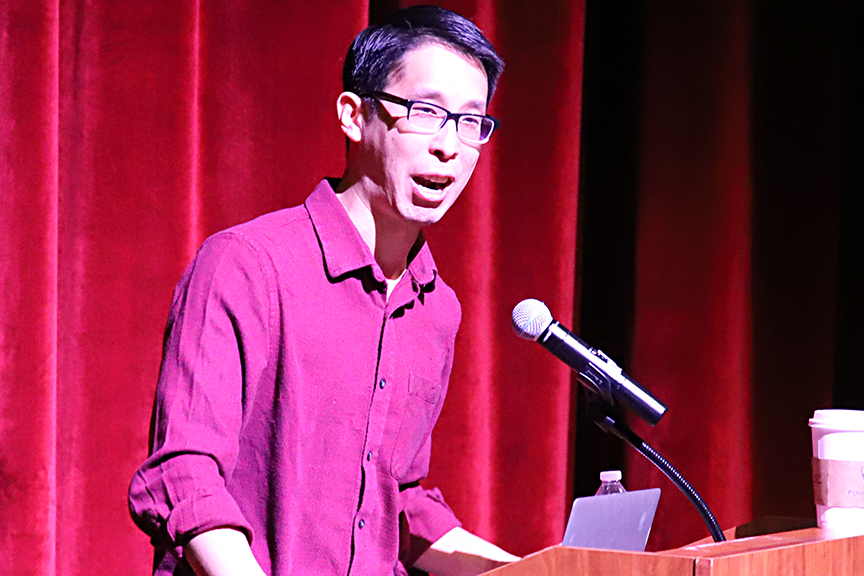 The second day of the True Lit Festival brought national-award winning author and MacArthur Fellow Gene Luen Yang to the FHS Performing Arts Center to speak to all eighth and ninth-grade students. Mr. Yang also led two writing workshops for select groups of students. Special thanks to the Fayetteville Public Education Foundation and the Fayetteville Public Library for bringing Mr. Yang to speak to our students for the Blair Lecture Series.