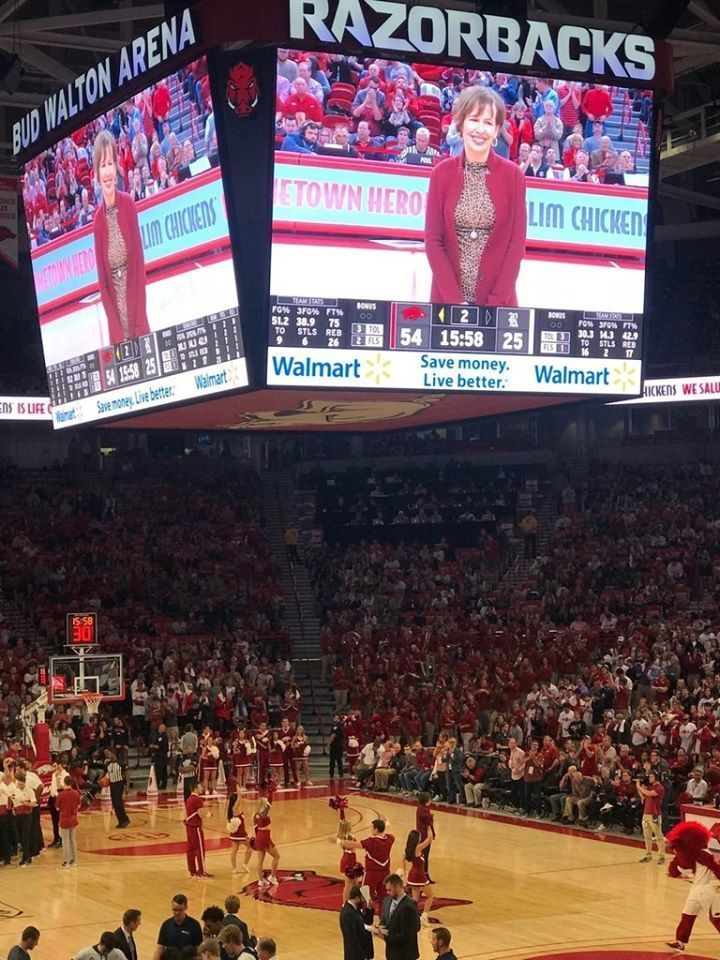Shout out to @FayettevilleHS teacher, Katie Stueart, who was announced as a Hometown Hero at a recent Arkansas Razorback game! Picture of Katie on the BIG SCREEN Bud Walton Arena.