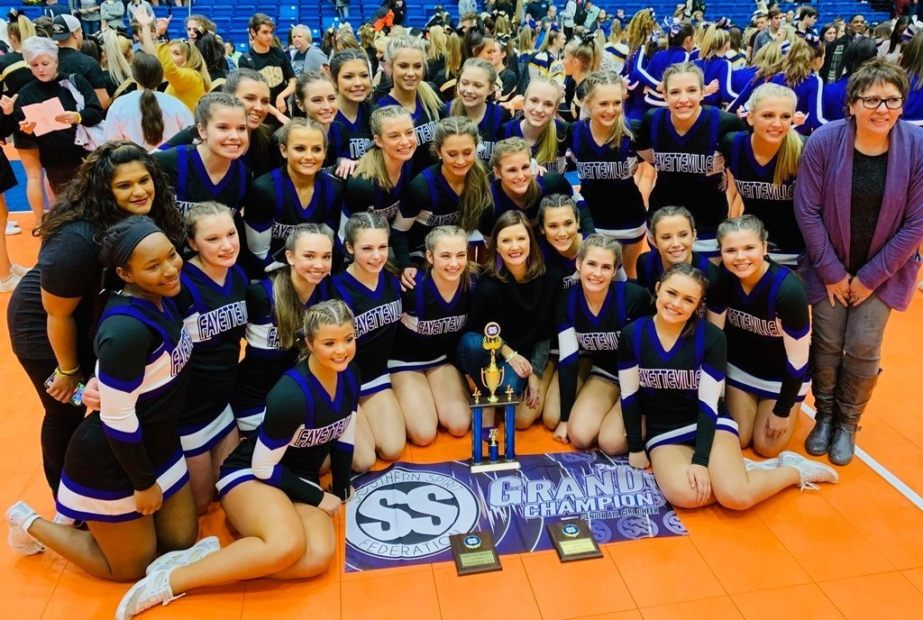 Congratulations to the @FayettevilleHS Varsity Cheer Team for their performance at the Hot Springs Cheer Competition! 1st in Division Overall Best use of Stunts Overall Best use of Cheer Grand Champion All Girl Team between 3A-6A.