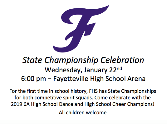 FHS Dance + Cheer State Championship Celebration this Wednesday, January 22nd at 6:00 p.m. in the FHS Arena!